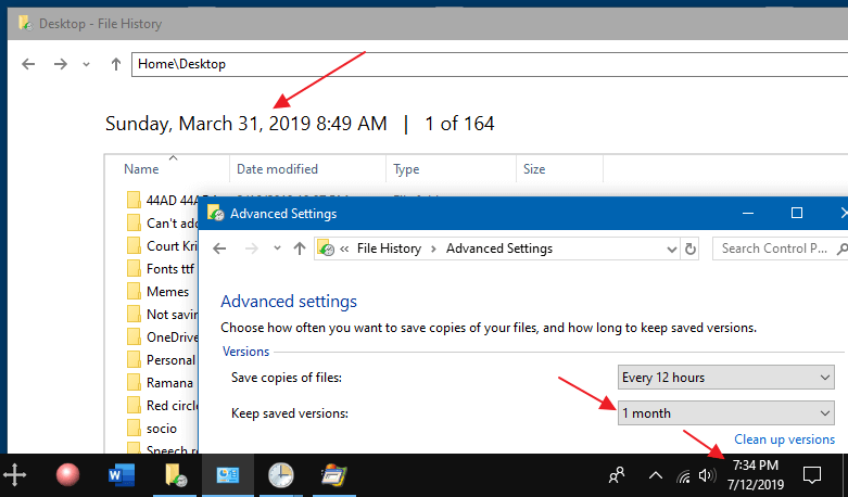 file history does not clean older versions automatically