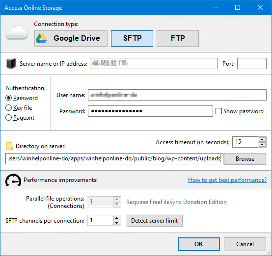 compare and sync local folder and ftp using freefillesync