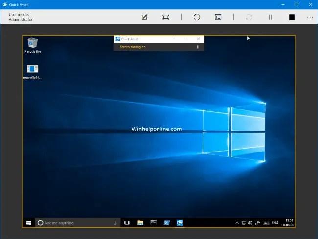 quick assist in windows 10
