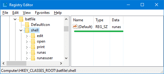 bat file default runas elevated