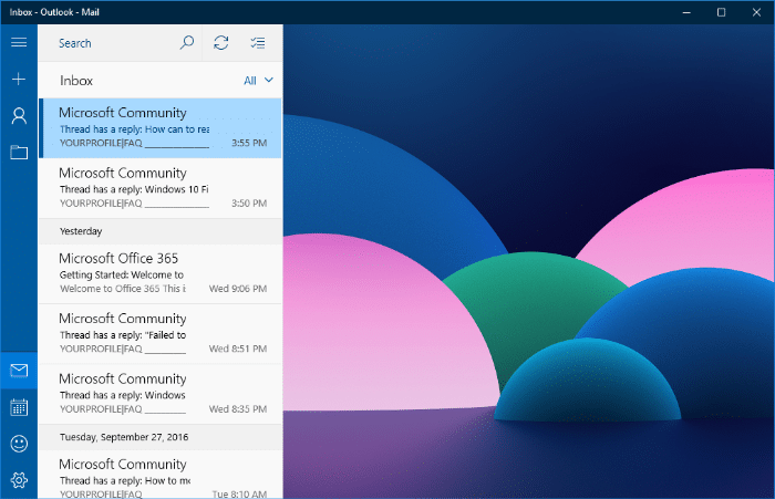 Windows 10 Mail App Background Color or Image - How to