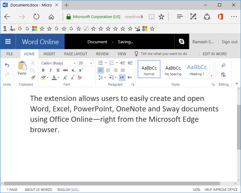 office online edge extension