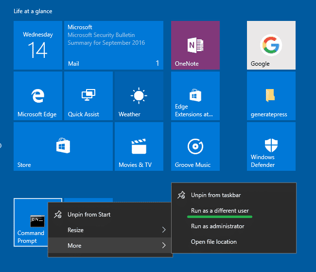 run as different user - add to windows 10 start