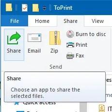 Share ribbon button in Windows 10