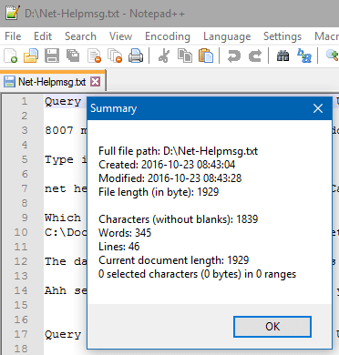 get word count in text file
