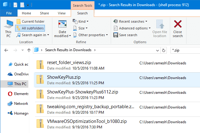 search results content view windows 10