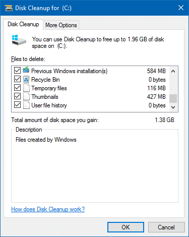 disk cleanup checkboxes