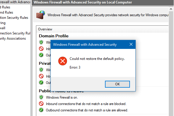 reset windows firewall settings