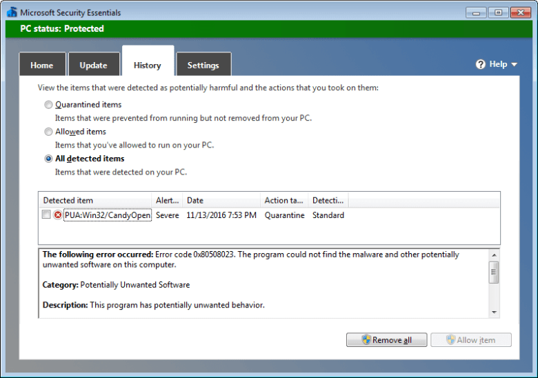 enable adware protection in microsoft security essentials