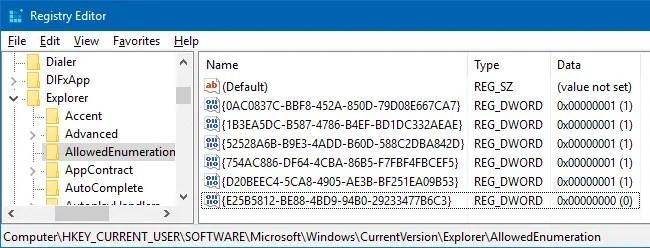 whitelist shell namespace