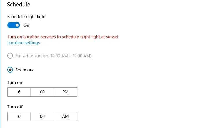 night light settings to lower blue light setting hours