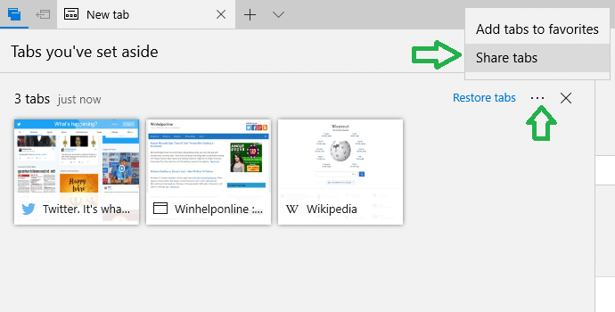 edge share tabs set aside