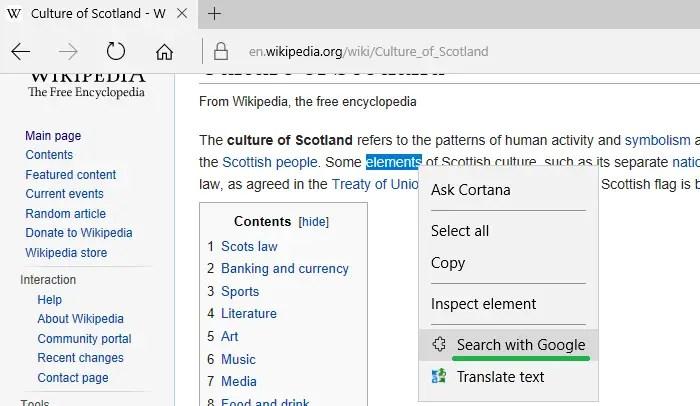 edge search with google menu