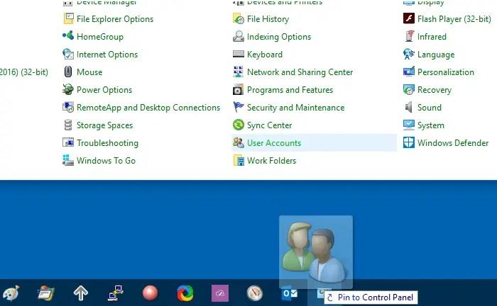 pin control panel taskbar