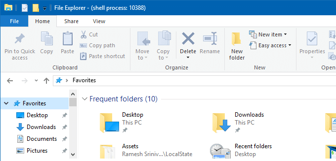 rename Quick access in Windows 10