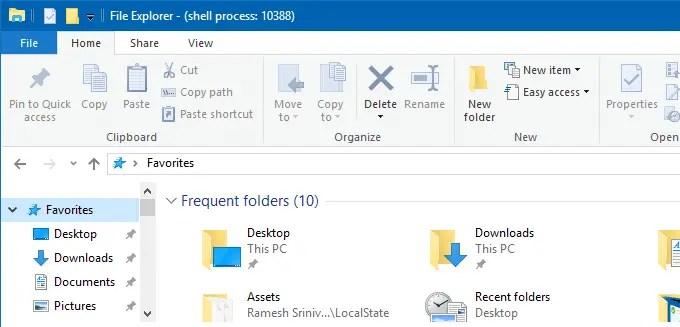 rename Quick access in Windows 10