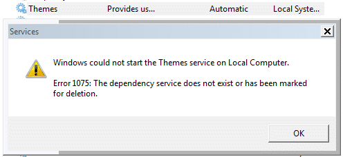 themes service error 1075