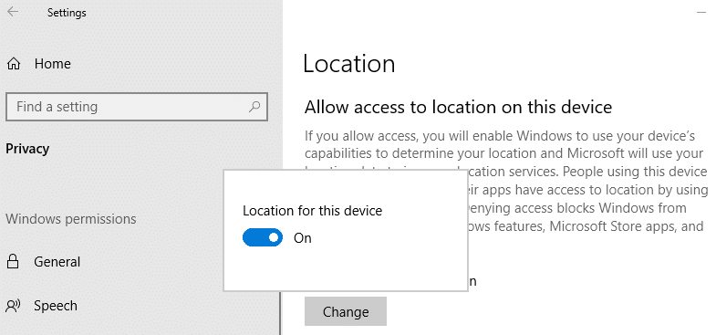 enable location access for your windows 10 device