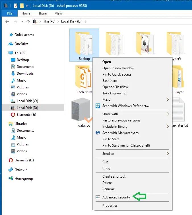 advanced security right-click menu