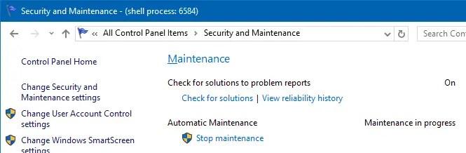 Disable Automatic Maintenance