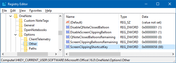 onenote screen clipping shortcut keys