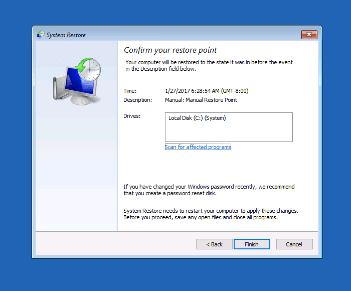 Perform System Restore Rollback Offline in Windows 10 [Recovery