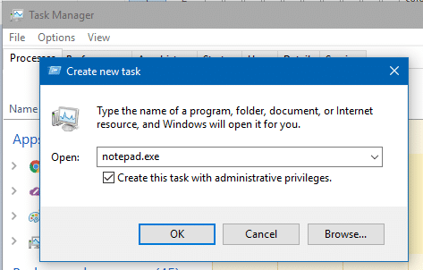 task manager elevate program new task
