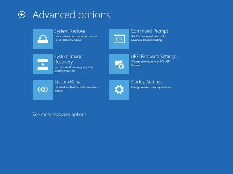 windows 10 advanced recovery options screen