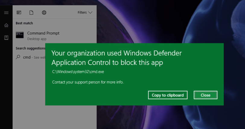 Your organization used Windows Defender Application Control