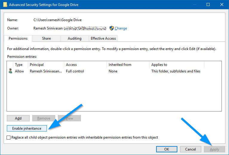 google drive folder enable inheritance