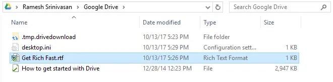 google drive folder contents