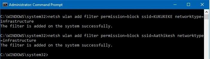 netsh add filter permission block ssid