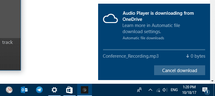 onedrive automatic download cancel or block