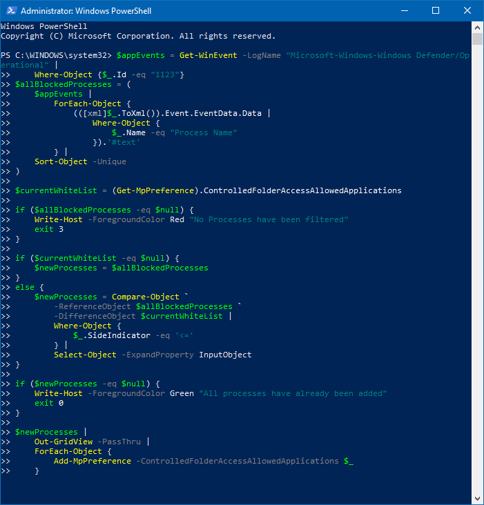 allow all apps controlled folder apps using powershell script