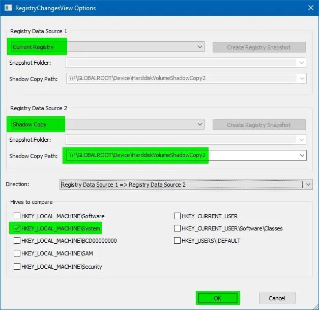 registrychangesview options