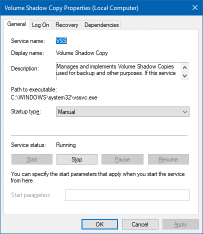 volume shadow copy service stop and restart