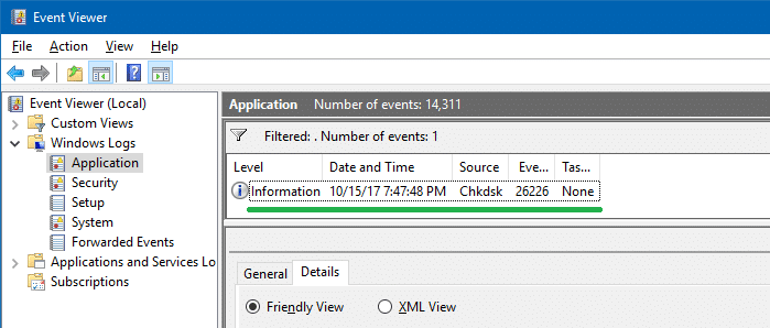 disk error check - scan results - event log