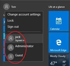 users already logged in windows 10