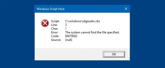 xdgaudio.vbs error malware