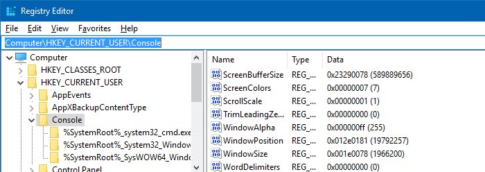 command prompt layout and size defaults