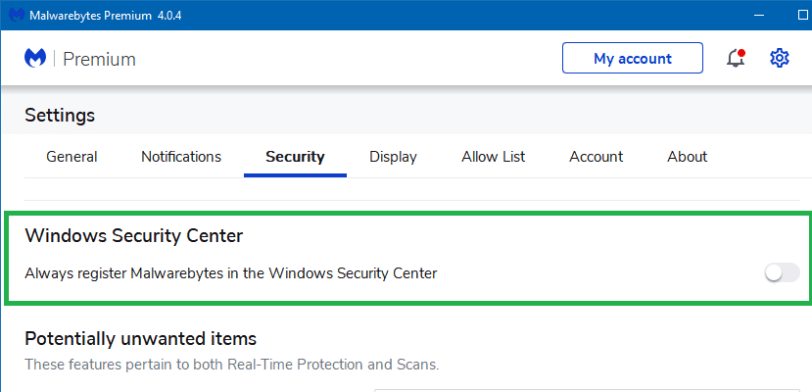 malwarebytes register windows security center
