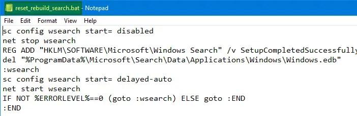 reset rebuild search using batch file