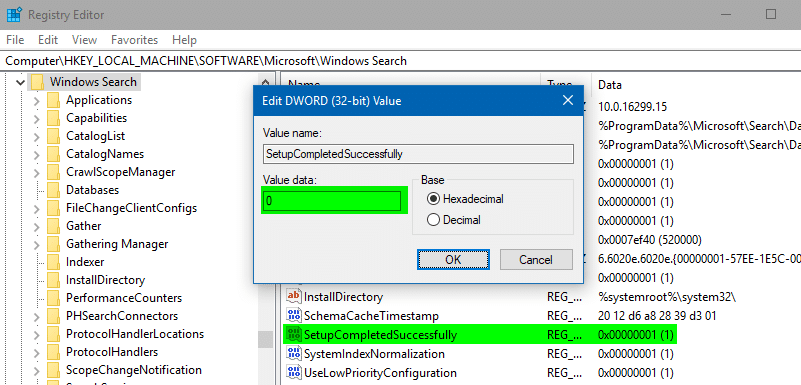 Reset and Rebuild Search Index -  setupcompletedsuccessfully