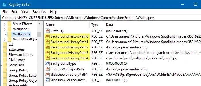 clear desktop wallpaper history using registry editor