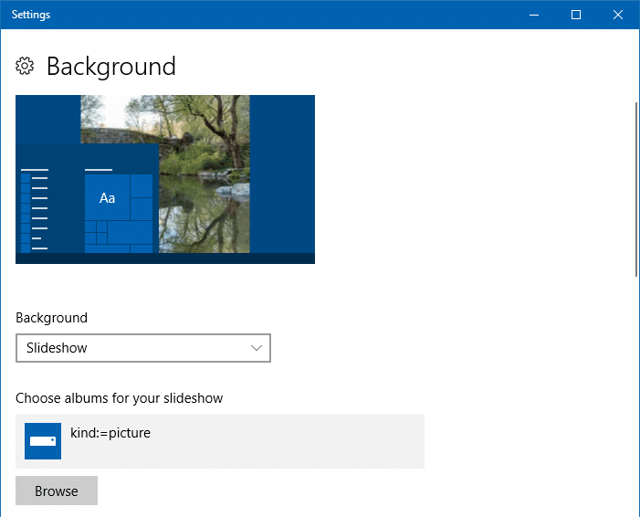 desktop slideshow - personalize settings
