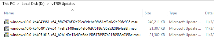 cumulative update packages from wu catalog