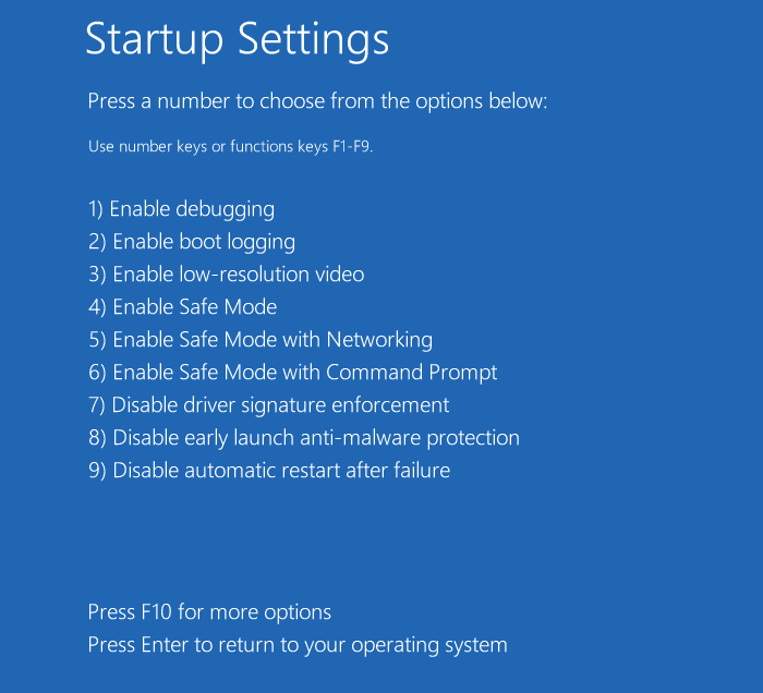windows 10 startup settings recovery options