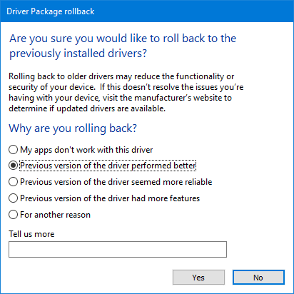 device manager driver rollback