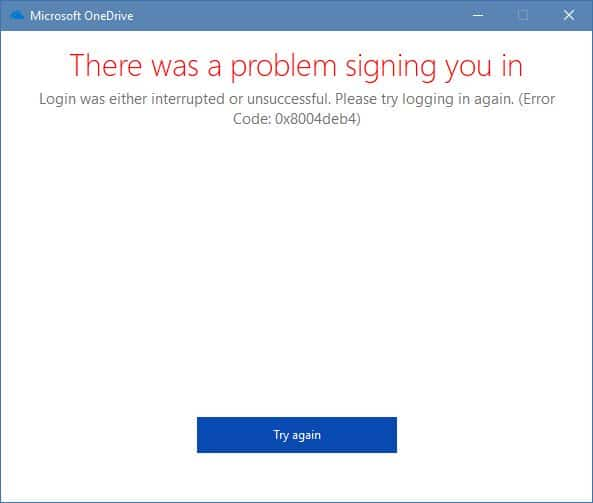 Fix] 0x8004deb4 OneDrive Sign in Error in Windows 10
