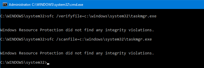 sfc scan taskmgr.exe file integrity
